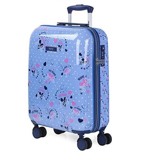 SKPAT - Maleta Infantil Cabina de Viaje 4 Ruedas Dobles Trolley Policarbonato Estampado Lunares. Equipaje de Mano. Rígida y Ligera. Candado TSA. Low Cost 131450, Color Azul