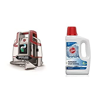 Hoover FH11300PC Spotless Portable Carpet & Upholstery Spot Cleaner Red Spotless & Hoover Oxy Deep Cleaning Carpet Shampoo Concentrated Machine Cleaner Solution 50oz Formula AH30950 White