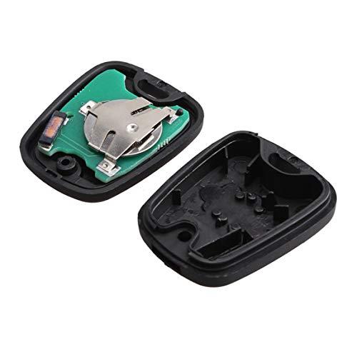 2 Botones de Control Remoto del Coche Llave de la Llave Control Remoto de Llavero para Peugeot 206 433MHZ con Chip transpondedor PCF7961 (Color: Negro)