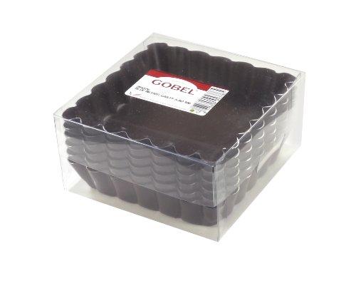 Gobel 294376 Boîte de 6 Tartelettes Cannelées Carrées Fond Fixe Anti-Adhérent 10 cm