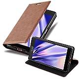 Cadorabo Hülle für Sony Xperia Z5 COMPACT in Cappuccino BRAUN - Handyhülle mit Magnetverschluss, Standfunktion & Kartenfach - Hülle Cover Schutzhülle Etui Tasche Book Klapp Style