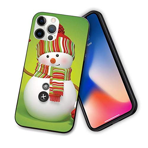 Snowman 3D Style Fun Character Greeting Traditional Colors Seasonal Celebration Theme Flexible Slim TPU Case Design for iPhone 12 6.1',Green Red White