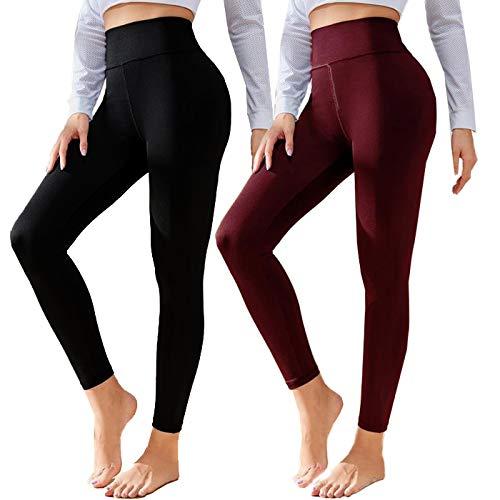 Polainas de algodón negro para mujer de talle alto suave control de la barriga entrenamiento pantalones de yoga tamaño y cálido - - Más Talla