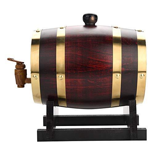 EBTOOLS Botte di Vino in Rovere Contenitore del Vino,Dispenser a Vino Botte Legno,Dispenser per Barile,Barilotto per Rum Whiskey Birra,con Rubinetto plastica - Contenuto 1.5 litro/3 litro(1.5 L)