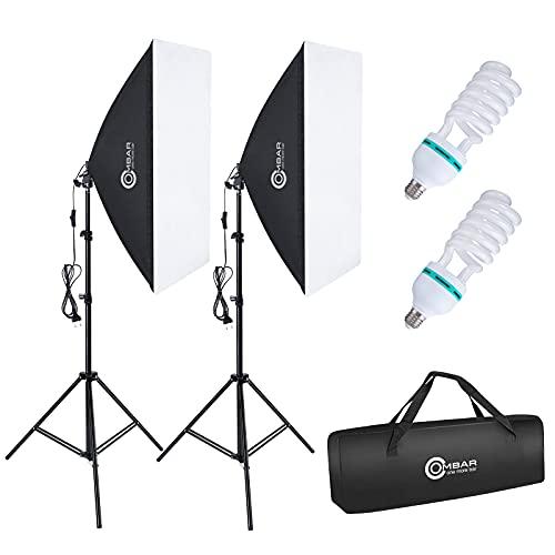 OMBAR Softbox-Set fotografico per studio fotografico 50x70cm professionale, con 135W 5500K lampada diurna E27 e borsa per il trasporto per ritratti da studio, foto di moda(2 set)…
