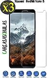 carcasaschulas XIAOMI REDMI Note 5 - Pack 3 Unidades - Cristal Templado - Protector de Pantalla