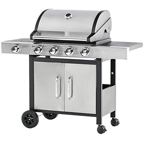 Outsunny Barbecue Gas con Coperchio e Bruciatore Laterale, Termometro, Mensola e 4 Ruote, 128x50x113cm Nero e Acciaio