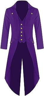 Ivay Mens Gothic Tailcoat Jacket Vintage Black Steampunk VTG Victorian Long Coat
