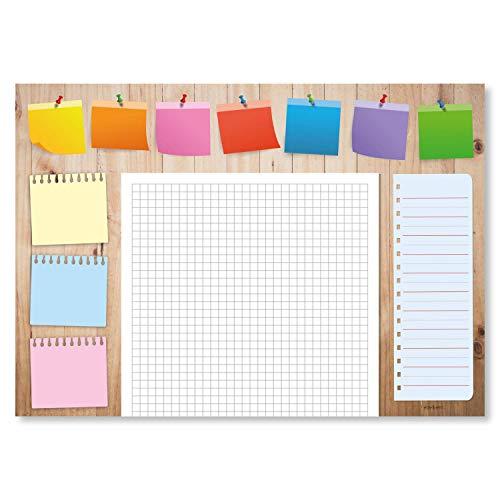 """Wochenplaner """"Gute Laune II"""" aus Papier   DIN A4   50 Blatt Block   Praktische Schreibtischunterlage für den Alltag   Ideal als Notizblock, Terminplaner & Tagesplaner"""