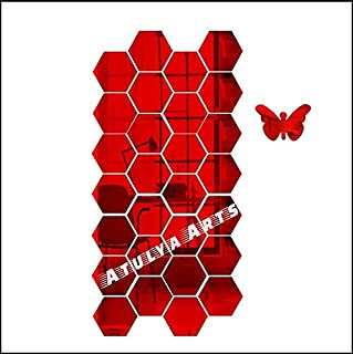 Atulya Arts Mirror Hexagon Decorative Wall Sticker (Pack of 28) with 10 Butterfly Sticker 3D Acrylic Stickers Mirror Wall ...
