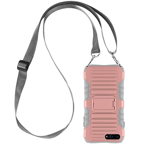 JAMMYLIZARD Cover a Tracolla Compatibile con Apple iPhone 7 Plus e iPhone 8 Plus Custodia Protettiva Rigida Antiurto [Taurus] in Silicone TPU e Polimero, Rosa