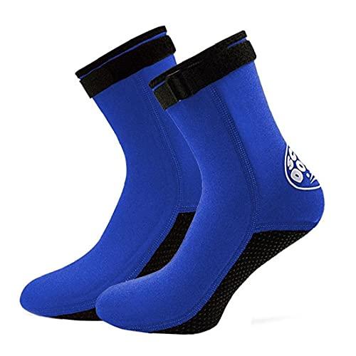 Liadance Socksuits Socks for Beach Swim Surf Yoga Ejercicio Calcetines de Buceo Surfing Boots Nadar 3mm Neopreno Anti-Slip Fin Socks Shoes de Agua para Hombres Adultos y Mujeres Azul l 1 par