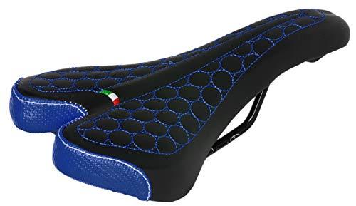 Sillín FatBike Montegrappa para bicicleta MTB Trekking Unisex Mod. SM 4010 Made in Italy Color Azul