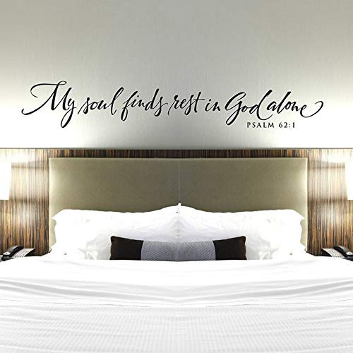 JXMN Christian Wall Stickers My Soul Rests Alone in God Bedroom Wall Stickers Psalms Vinyl Wall Stickers Bible Verses 18x114cm