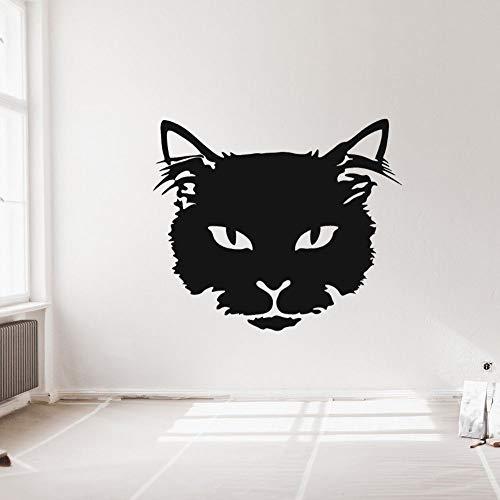 yaonuli Katzengesicht Umriss Tier Wandkunst Aufkleber Katzenliebhaber Wohnzimmer und Schlafzimmer Wanddekoration 74x63cm