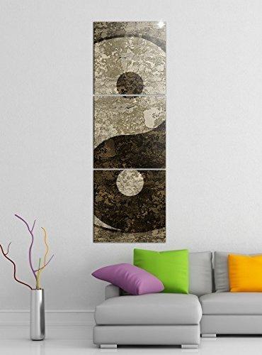 Leinwandbild 3tlg Yin & Yang Symbol Feng Shui Zen Bilder Druck auf Leinwand Vertikal Bild Kunstdruck mehrteilig Holz 9YA4743, Vertikal Größe:Gesamt 30x90cm