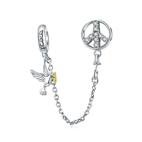 925 Sterling Silver Peace of Dove Safety Chain Charm Stopper Charm Bear Charm Gift Charm for Pandora Charm Bracelet (J)