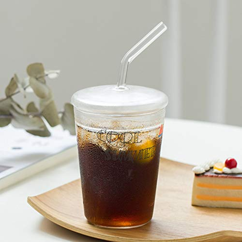 Erjialiu Kaffeetasse 350ml Mode Stroh Becher transparent Glas kaltes Getränk Tasse Limonade Stroh Tasse Runde hitzebeständige Teetassen Glas Stroh mit Deckel,Stil 3,350 ml