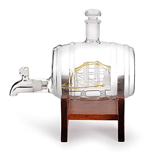 WEUN 1000 ml Juego decantador Whisky, Marco Madera con Grifo, contenedor Botella Vidrio en Forma Barril de Vino, con 2 Vasos de Vidrio, Regalo de decantador de Whisky