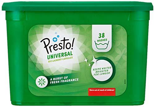 Amazon Brand - Presto! Laundry Capsules Bio Universal, 152 Washes (4 Packs , 38 Each)