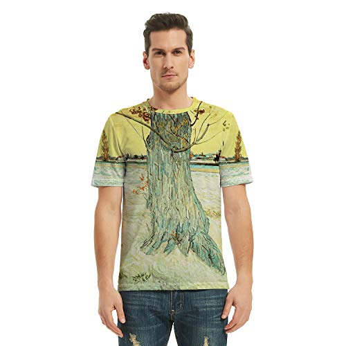 COLOROPA Überall Ölgemälde Drucken T-Shirt Herren Kurzarm Grafik Tshirt Damen Casual Tee-Shirt Rundhals Jungen T Shirt Teenager Damen - Van Gogh - Stamm Einer Alten Eibe - XS