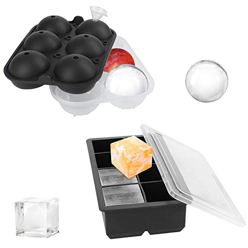 Eiswürfelform Silikon, 2 Stück Eiswürfelschalen mit Deckel und Trichter, Groß Quadratischen Eiswürfel und Kugel Form Eiswürfelformen BPA Frei für Gekühltes Getränk, Bier, Whisky, Pudding, Babynahrung