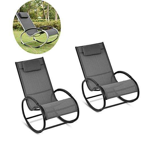 Dalovy Gartenliege Bequemes 2Er-Set Bequemer Relax Schaukelstuhl Lounge Chair Schwarzer Lounge Sofa Sessel für Schlafzimmer Wohnzimmer 120 * 55 * 88Cm