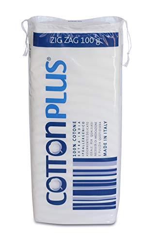 Cotton Plus ZIG ZAG 100 g - LINEA MEDICALE | 100% PURO COTONE IDROFILO CARDATO PER USO MEDICALE | Morbido e assorbente.