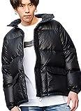 (フーガ)FUGA メンズ ダウン ジャケット ブルゾン ジャンパー ダブルジップ ナイロン 無地 上着 羽織 46(L) Black(ブラック)