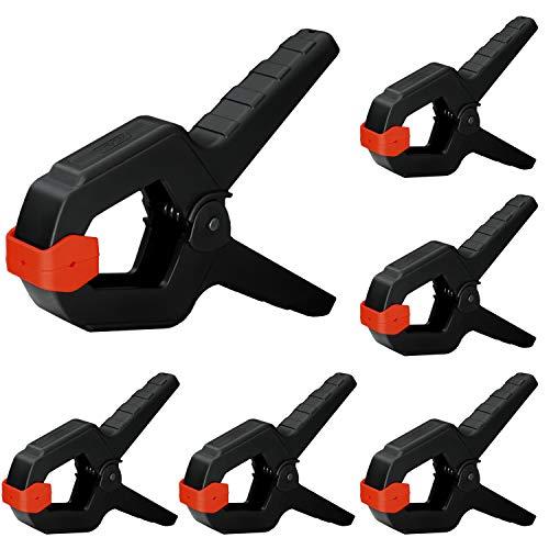 Nirox 6x Federklemmen im Set - Klemmzwingen mit großer Spannweite - hohe Spannkraft der Federzwinge - Leimzwingen mit beweglichen Backen - Spannklemmen