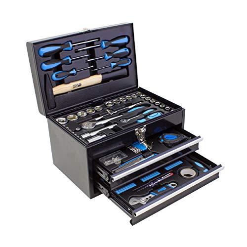 Karcher Werkzeugkasten - 117-teiliges Werkzeugset aus Chrom Vanadium & Karbonstahl mit Hammer, Schraubendreher, Steckschlüssel, Bitsatz uvm.