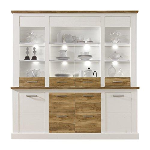 trendteam smart living Wohnzimmer Highboard Schrank Toronto, 210 x 210 x 42 cm in Korpus Pinie Weiß mit viel Stauraum