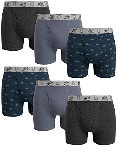 Lucky Brand Men's Cotton Boxer Briefs (6 Pack), Grey/Navy Print/Charcoal, Size Medium'