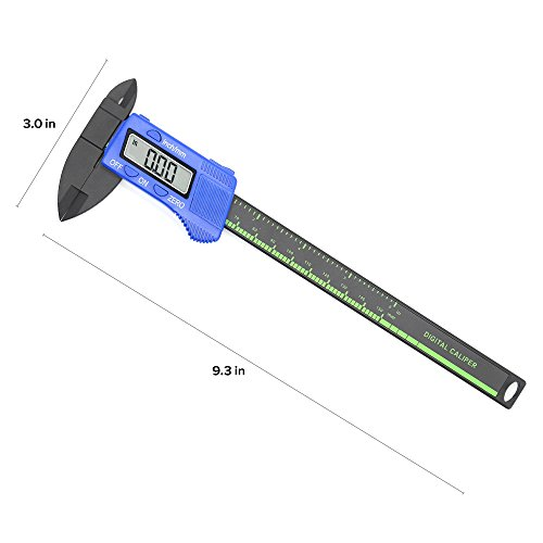 Digital Caliper with Large LCD Screen Plastic Electronic Vernier Caliper Measuring Tool, 0-6 In/0-150 mm Conversion Auto Off Featured with Extra 1 Battery by Bseen (Blue)