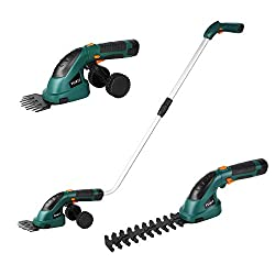 ▶The 2 in 1 grass and hedge trimmer features an interchangeable blade system that easily converts from a 100mm grass shear to a 170mm hedge trimmer. ▶The telescopic handle and the small trolley allow trimming without kneeling down, also you can trim ...