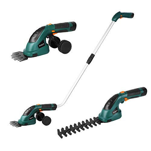 Fixkit 7.2V 2 in 1 Cordless Grass and Hedge Trimmer, 2 Interchangeable Blades, Battery Powered...