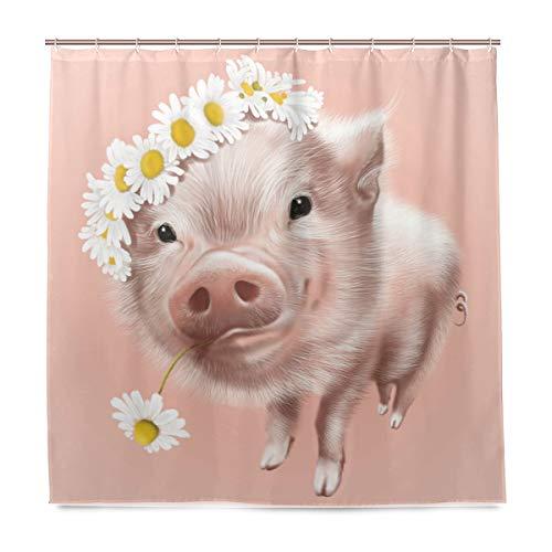 BIGJOKE Duschvorhang, Sommer-Schweine-Blumen-Gänseblümchen-resistent, wasserdicht, Polyester, 12 Haken, 183 x 183 cm, Heimdekoration