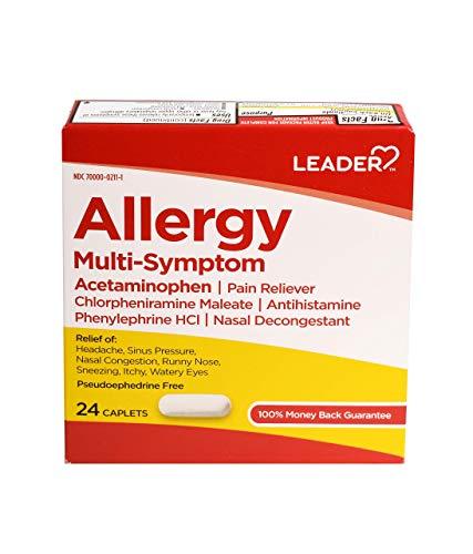Leader Allergy Multi-Symptom Relief, Pain Reliever, Antihistamine, Nasal Decongestant, Fast-Acting & Long-Lasting Relief for Hay Fever, Headache, Sinus Pressure Symptoms 24 Caplets Each, Pack of 6