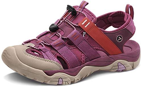 ATIKA Sandali da donna atletici da escursionismo con punta chiusa, leggeri, adatti per camminata, trailing, trekking, scarpe da acqua in estate, W107, confezione da 1 rosa, 38 EU