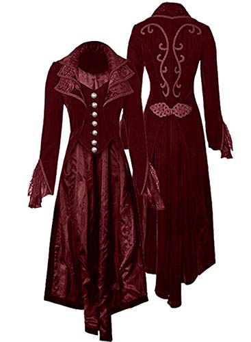 Women's Steampunk Gothic Vintage Jacket Victorian Tailcoat Long Trench Coat Jacket Halloween Costume (L, red)