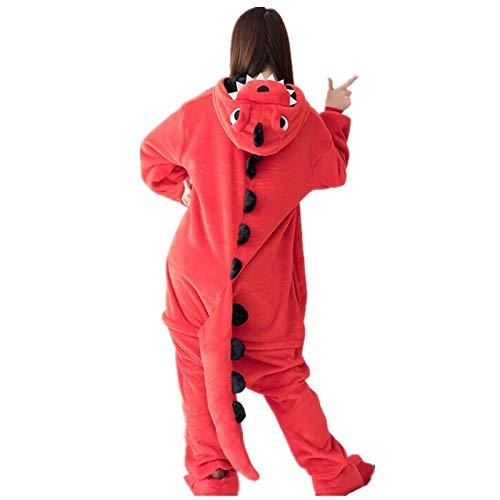 Adultos Ropa Franela Dinosaurio Pijama Mujeres Hombre Invierno Homewear Girl Onesie Flannel Cosplay Traje Partido Partido Adulto Cálido Unisexo Onesie Pijamas (Color : Rojo, Size : M)