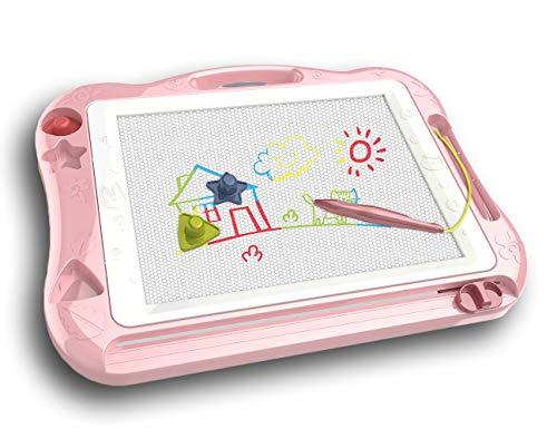 SunshineTec Große Magnet Zeichentafel, 43,5x33,5 cm, magnetische Zaubertafel, Maltafel, Zaubermaltafel, (rosa)