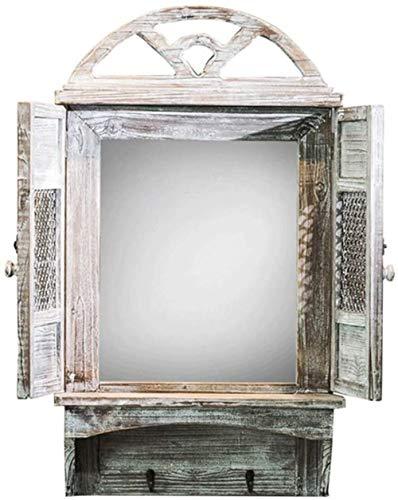 Miroir de maquillage LHY Faux fenêtre Miroir Mur Rétro Vintage Vieux Mur Suspendu Vent Industriel Crochet personnalité de fenêtre en Bois Faux La Mode