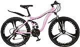 SZZ0306 Bicicleta 26 Pulgadas Bicicleta de montaña 21 Cambio de Disco Freno Delantero y Trasero suspensión Completa Bicicleta para niños y niñas y Hombres y Mujeres-2 - Rosa_26 Pulgadas