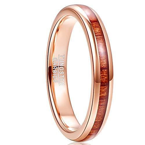 NUNCAD Anello in Oro Rosa Donna Uomo,Anello in Legno Tungsteno 4mm per Matrimoni Associazioni Anniversari e Fidanzamento Taglia 12.5-27.5