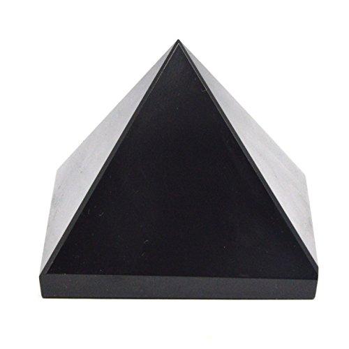 Healing Crystals - Natural Black Tourmaline Crystal Pyramid   Energy Balancing   Large 2 Inche Base   Tumbled Pyramid