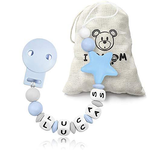 RUBY - Chupetero personalizado para bebe con nombre bola silicona antibacteria con pinza plastico con 2 agujeros anti-asfixia Chuptero Estrella (Azul)