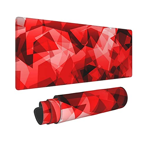 CVROY XXL Gaming Mouse Pad Irregular Red Crystal Pattern Non-Slip Mousepad Rubber Base and Stitched Edges for Game Players, Office, Study