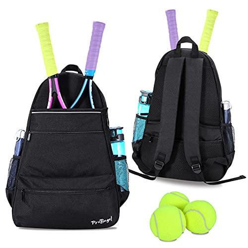 ProBagel Bolsa de tenis, mochila de tenis para mujeres y hombres con características mejoradas para sostener 2 o 3 raquetas de tenis, material impermeable, bolsa deportiva...