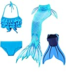 Mermaid Tail Swimsuit with Monofin Girls Boys Swimwear Bikini Set